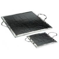 Buy cheap SCC B-129 Square Natural Slate Serving Tray with Stainless Steel Frame and Handles from wholesalers