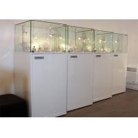 Quality Material Wooden White Lighting Retail Glass Display Cases / Museum Glass Case for sale
