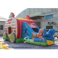Quality Kids Pink Princess Carriage Inflatable Bouncy Castle Slide With Lead Free Material for sale
