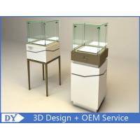 Quality High Square Glass Jewelry Display Case With Lights Logo / Shop Glass Display Cabinets for sale