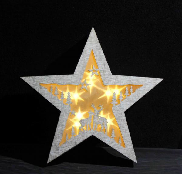 Christmas wooden star shape warm light holiday decoration