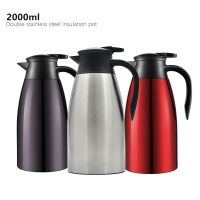 Quality Stainless Steel Double Wall 2000ml Vacuum Insulated Teapot for sale