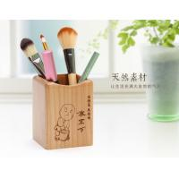 Quality Laser Graphic Mini Wooden Desktop Pen Holder Stand 75 X 73 X 98mm Artistic Wood Crafts for sale