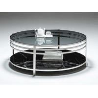 Quality Blue Glass Top And Steel Base Round Coffee Table Modern Home Furniture for sale