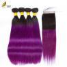 Quality Hair Pre-colored T1B/Pur 100% Human Hair Brazilian Hair Straight 4 Bundles With Closure for sale