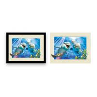 Quality Home Decoration 3D Lenticular Printing Service 12x16 Inch Framed Dolphin Picture Wall Arts for sale