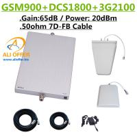 Quality 65dB GSM DCS 3G 900 1800 2100 MHz Tri Band Cellular Phone Signal Booster Repeater Amplifier+LPDS+Panel Antenna+15m 7D-FB for sale