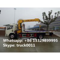 Quality Dongfeng 4*2 flatbed wrecker tow truck with telescopic/knuckle boom crane for sale, factory sale road recovery truck for sale