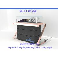 Buy Elegant Comfortable Black Rose Gold Wood Glass Sit Down Jewelry Case With Lights at wholesale prices