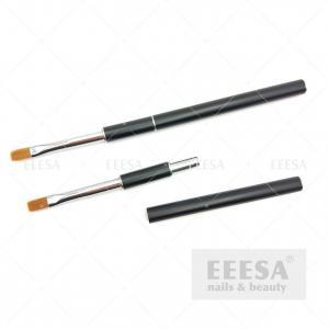 Quality Custom Nylon Synthetic Hair Black Handle Square Flat Gel Nail Brush for sale