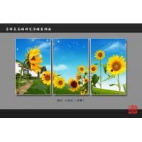 Quality Heat Resistant Faux Tile Wall Panelsembossed Triptych Art Painting Sunflower for sale