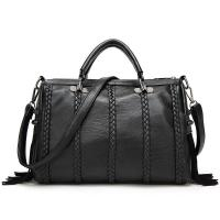 Quality Black Cow Split Leather Fashion Ladies HandBags Tassel Weaving Decoration for sale