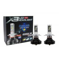 Quality 6000LM 50W X3 H4 HB2 Fanless Auto Motorcycle Car LED Headlight DC 9 - 36V for sale