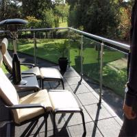 Quality Brand new metal porch railing / balustrade with clear glass design for sale