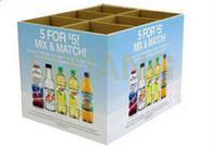 Large Drink Square Carton Cardboard Floor Display With CMYK / Pantone Colors Printing
