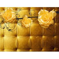 Quality Yellow Roses 3D Bamboo Wall Panels Decorative Interior Wall Paneling for sale