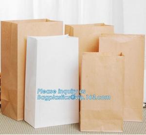 China Custom bakery paper bag / Food grade bread packaging bags, white or brown craft paper bag,greaseproof kebab sandwich bre on sale