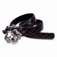 Quality PU Belt with Human Skeleton Style Buckle, Customized Designs are Accepted for sale