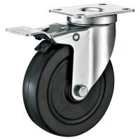 Quality Hard Rubber Industrial Trolley Wheels / Black Industrial Steel Casters for sale