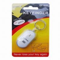 Quality LED Light Whistle Key Finder, Made of Plastic, Measures 5.5 x 2.7 x 1.3cm for sale
