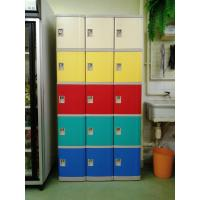 Quality Safety / Ventilation Plastic School Lockers Red Door Cabinet Gray 2 Tier Lockers for sale