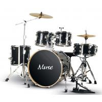 Quality Classic Black Standard 5 Piece Acoustic Drum Set / Percussion Kit With Cymbals for sale