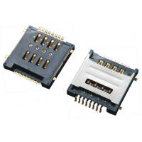 Double SIM Card Connector SMT 8Pins , Micro Sim Socket With Shielded Black Plastic