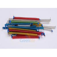 Quality Stainless Steel Core Coiled Security Tethers Colorful Cords With Screw Terminals for sale