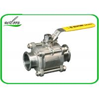 Quality Sanitary Manual Ball Valve , Three Piece Encapsulated Hygienic Ball Valves for sale