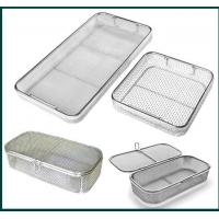 Quality Medical Grade Stainless Steel Mesh Tray With Drop Handles For Washing Or Sterilization for sale