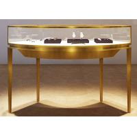 Quality Curve Shape Stainless Steel Jewelry Counter With Glass Light For Shopping Mall for sale