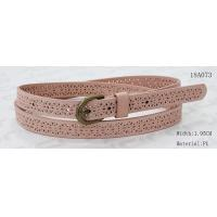 Buy Old Brass Buckle Pink PU Ladies Belts With Punching Patterns at wholesale prices