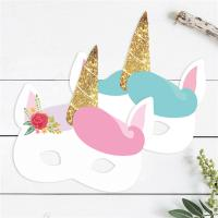 Quality Birthday Unicorn Recycled Paper Mask For Kids 7.5 X 7.5 Inch Customized Design for sale