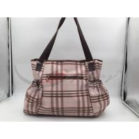 Quality Pink PU Grid Pattern Tote Diaper Bags With Shoulder OEM / ODM Acceptable for sale