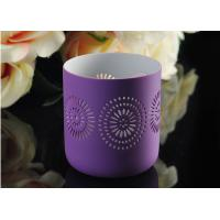 Quality Purple pattern Porcelain Candle Holder Bowl / Hollow Ceramic Candle Houses for sale