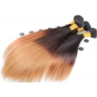 Quality Double Drawn Soft Ombre Colored Human Hair Extensions With Light Blonde for sale
