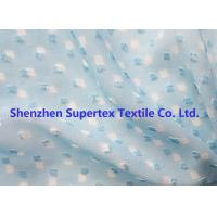 Quality Blue Color GGT Jacquard Swiss Dot Polyester Chiffon 2400T 75D for sale
