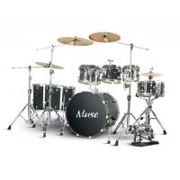 Quality Classic Tobacco Black Lacquered Painting 7 Piece Adult Drum Set Birch Wood for Band for sale