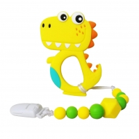 Quality OEM Baby Dinosaur Teething Toys With Pacifier Clip Holder for sale