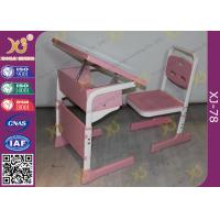 Quality Single Student Childs School Desk And Chair With Adjustable White Sketch Board for sale