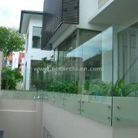 Quality Customized Glass Decking Standoff Railing with Stainless Steel Handrail for sale