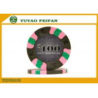Green / Pink / Blue Clay Material Poker Chips Beautiful Edge Strip 3 Color