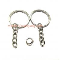 Quality Jiayang Silver Iron Split Key Chain Ring W/ 25mm Chain And Screw for sale