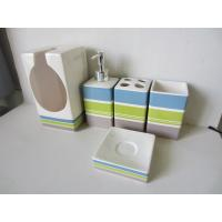 Stripe pattern 5 piece ceramic bath set bathroom bath for Toilet accessories sale