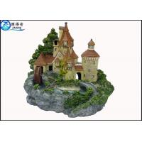 Quality Luxury Castle Aquarium Resin Ornaments With Landscaping Rockery And Waterwheel for sale