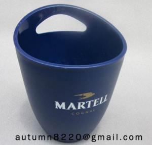China Clear dark blue plastic ice bucket on sale