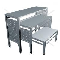 Quality clothes display shelf model, clothes display stand, commercial movable shelves for sale