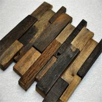 China Old Ship Wood Mosaic Wall Panels , Mixed Color Wood Mosaic Tile For Shop on sale