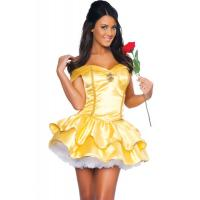 China Wholesale Fairy Tale Costumes Yellow Satin Princess Beauty Halloween Sexy Costume for Christmas Party XXS to XXXL on sale