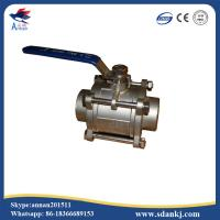 Quality stainless steel 304 high quality 3pcs threaded type ball valve for water gas oil for sale